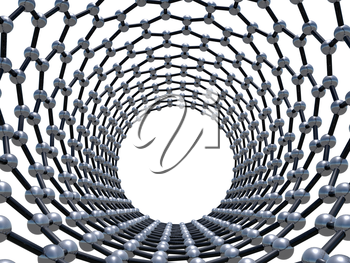 Single-walled zigzag carbon nanotube molecular structure, front view perspective isolated on white background. Atoms connected in wrapped hexagonal lattice. 3d illustration
