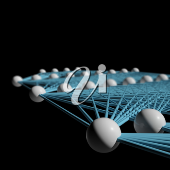 Artificial deep neural network with blue links, schematic model fragment isolated on black, 3d illustration