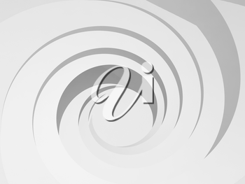 White spiral hole background. Abstract digital illustration, 3d render