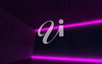 Abstract empty dark concrete interior with two purple neon light lines, 3d render illustration