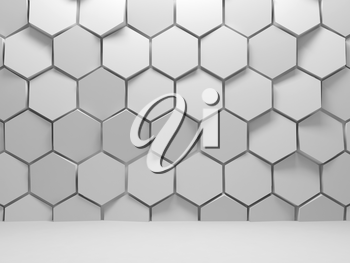 Abstract white interior background with hexagons installation on front wall, 3d render illustration