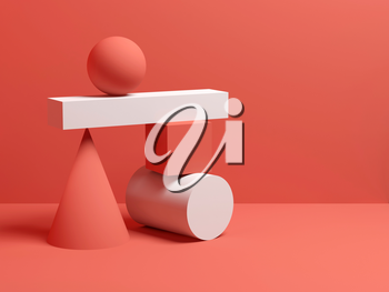 Abstract equilibrium still life installation with red and white primitive geometric shapes. 3d render illustration