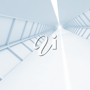 Abstract empty corridor perspective, blue toned high-tech interior background, square 3d render illustration