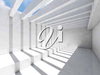 Abstract empty white interior background with ceiling illumination and striped pattern of shadows and light beams, 3d render illustration