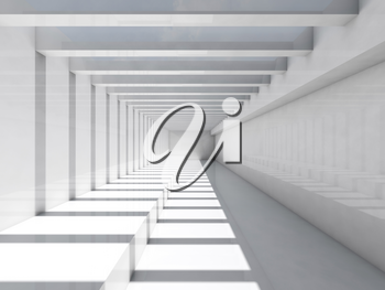 Abstract white interior background. Empty corridor with ceiling illumination and striped pattern of shadows and light beams, 3d render illustration
