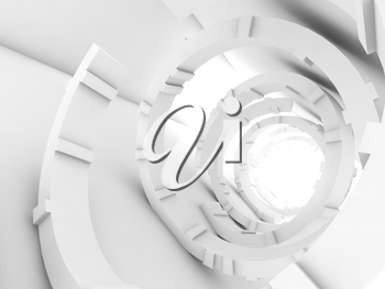 Abstract white tunnel interior, futuristic digital background, 3d render