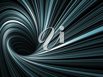 Abstract digital background, dark spiral tunnel with pattern of glowing blue lines, 3d render illustration