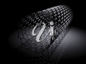 Carbon nanotubes molecular structure scheme, atoms of carbon connected in wrapped hexagonal lattice. 3d illustration on black background