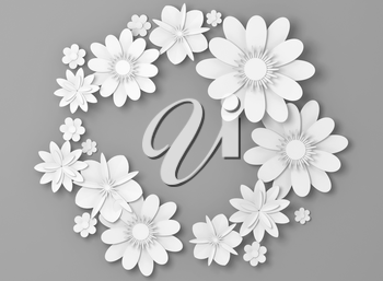 White paper flowers round decoration over light gray backdrop, bridal greeting card, ornamental background. 3d illustration