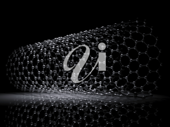 Single-walled zigzag carbon nanotubes molecular structure scheme, atoms of carbon in wrapped hexagonal lattice on black background, 3d illustration