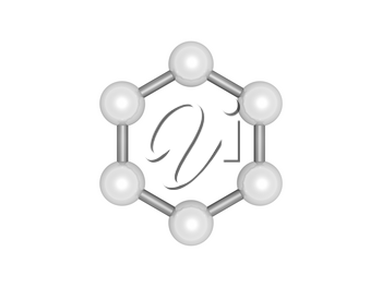 H6 graphene aromatic cluster, top view. Hexagonal structure made of carbon atoms isolated on white background, 3d render illustration