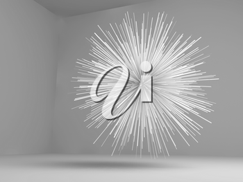 Abstract exploded star shaped white object flying in empty room, 3d render illustration