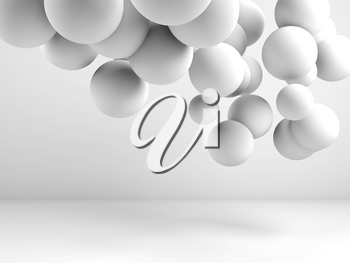 Cloud of spheres flying in abstract white room interior. Digital graphic background, 3d render illustration