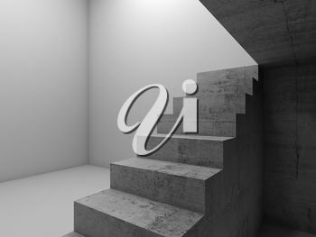 Under concrete stairway in an empty white room, abstract architectural background, 3d render illustration