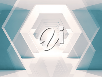 Abstract digital background with tunnel of overlapping hexagonal design elements. Double exposure 3d render illustration