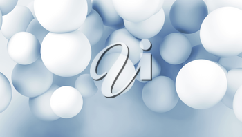 Cloud of white abstract spheres. Digital background, blue toned 3d render illustration