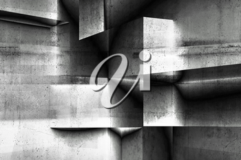 Abstract geometric concrete background pattern with double exposure effect, 3d render illustration