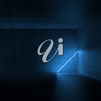 Abstract empty dark concrete interior with blue neon light in the corner, 3d render illustration