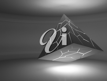 Abstract black flying pyramid object with glowing chaotic fragmentation cracks is in an empty dark interior, 3d rendering illustration