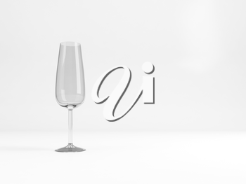 Empty sparkling wine flute glass with soft shadow stands over white background, 3d rendering illustration
