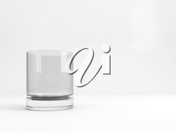 Standard empty old fashioned glass with soft shadow stands over white background, 3d rendering illustration