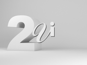 White digit two installation in an empty studio room, 3d rendering illustration