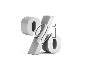 White bold percent sign isolated on white background with soft shadow, 3d rendering illustration