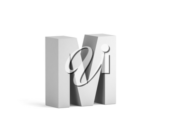 White bold letter M isolated on white background with soft shadow, 3d rendering illustration