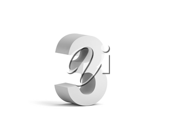 White bold digit 3 isolated on white background with soft shadow, 3d rendering illustration