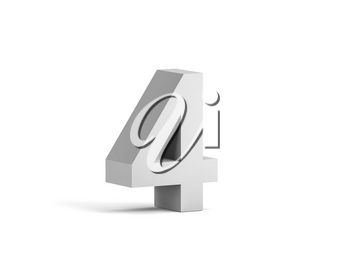 White bold digit 4 isolated on white background with soft shadow, 3d rendering illustration