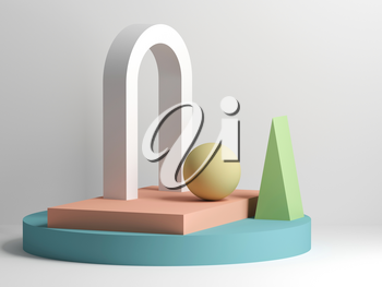 Abstract still life installation with white arch and colorful primitive geometric shapes. 3d rendering illustration