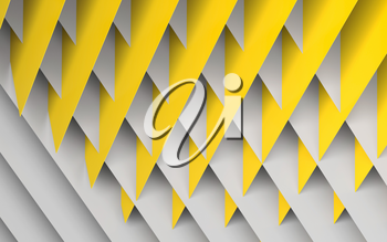 Abstract geometric background. Intersected yellow and white paper sheets pattern. 3d rendering illustration