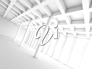 Abstract architecture background with perspective view of white room, 3d illustration