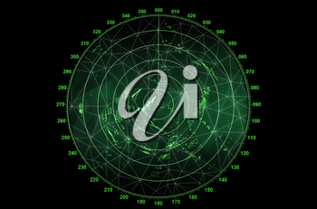 Modern radar screen with green round map and digital wire frame surface on black background