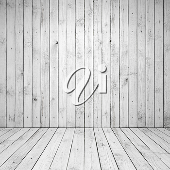 Abstract empty white room interior with wooden wall and floor