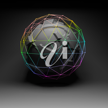 Abstract chaotically fragmented polygonal spherical object covered with colorful lattice wire-frame mesh, 3d render illustration