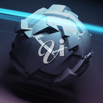Abstract spherical object with chaotic fragmentation surface with blue light rays, 3d render illustration