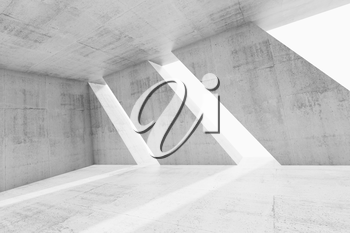Abstract white empty concrete interior with windows. Modern architecture background, 3d illustration