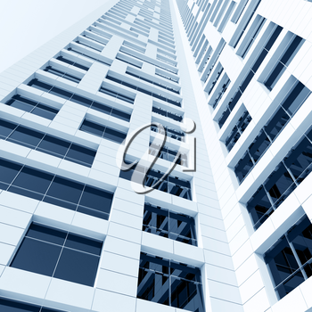 Abstract modern architecture. Perspective of tall building with shining windows in white walls. 3d render illustration