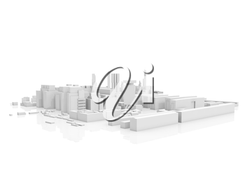 Abstract contemporary cityscape, 3d render isolated on white background with soft reflection over ground
