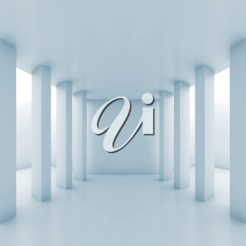 Abstract white corridor perspective with columns, blue toned interior background, square 3d illustration