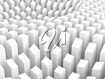Abstract digital background with white arranged columns, surface diagram, 3d illustration