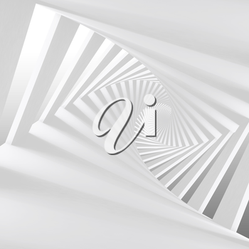 Abstract white twisted spiral corridor interior, 3d render illustration