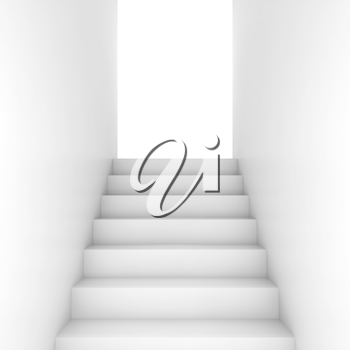 White stairway goes up to the open glowing door, abstract empty interior background, front view, 3d illustration