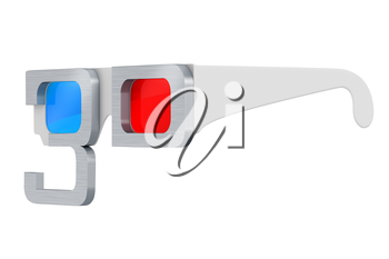 3d glasses with metal stroke on a white background