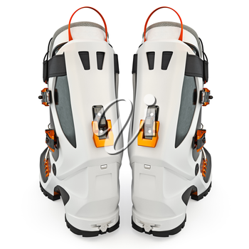 Ski boots modern style, isolated on white background