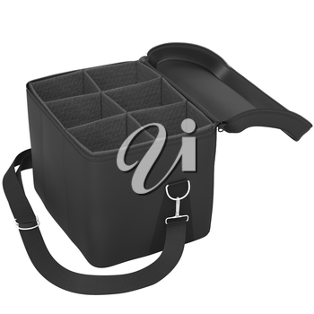 Open black bag with a mesh and a belt on a white background