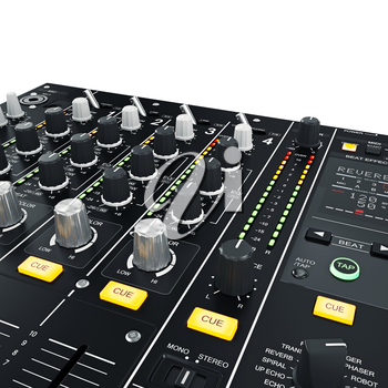 High quality sound professional dj mixer on white background. 3D graphic