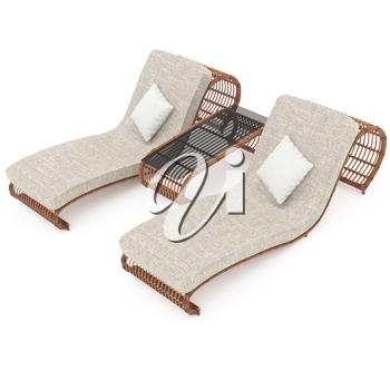 Outdoor comfortable wooden furniture for a comfortable stay with deck chairs and a table. 3D graphics