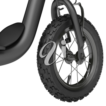 Front wheel scooter studded with spokes on a white background